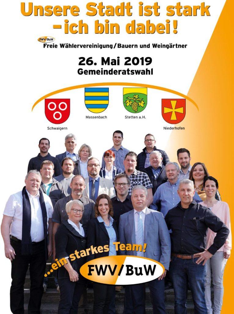 26. Mai 2019 - Gemeinderatswahl / Kommunalwahl Baden-Württemberg. Freie Wählervereinigung Bauern und Weingärtner. Schwaigern, Massenbach, Stetten a.H. und Niederhofen.